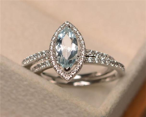 5*10mm Marquise Cut Aquamarine Ring,March Birthstone Ring,Wedding Band,Engagement Ring Set,Bridal Sets