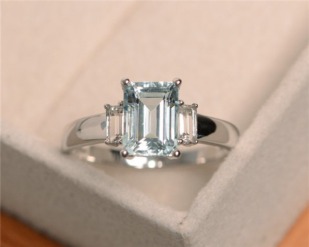 VS Aquamarine Ring,Blue Gemstone Ring,Engagement Ring,6*8mm Emerald Cut,Sterling Silver Ring