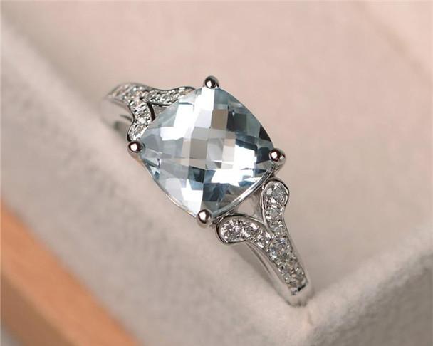 Aquamarine Ring,8mm Cushion Cut Promise Engagement Wedding Ring,Silver Ring,Blue Gemstone Ring,March Birthstone Ring