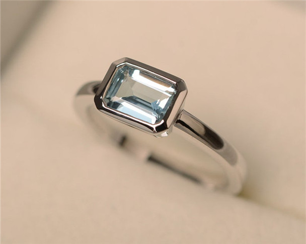 Aquamarine Ring,Sterling Silver,Solitaire Ring,5*7mm Emerald Cut,March Birthstone,East West Ring,Bezel Ring