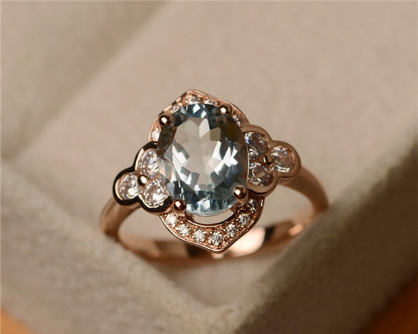 7*9mm Oval Cut Aquamarine Ring,Birthstone Ring,Sterling Silver Ring,Engagement Ring,Halo Ring