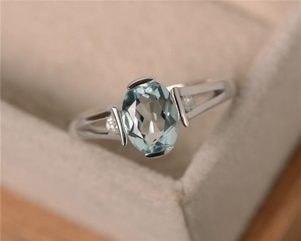 6*8mm Oval Cut Aquamarine Ring,Sterling Silver Ring,March Birthstone Ring,Gemstone Engagement Ring