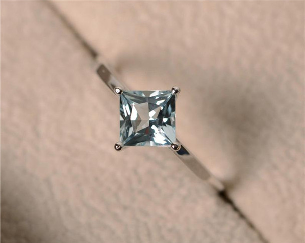 6mm Princess Cut Aquamarine Ring,Solitaire Ring,Sterling Silver Ring,Aquamarine Engagement Ring,Birthstone Ring