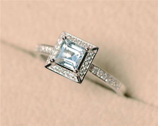 Aquamarine Ring,March Birthstone Ring,Gemstone Ring Aquamarine Engagement Ring,Sterling Silver Ring,Halo Ring