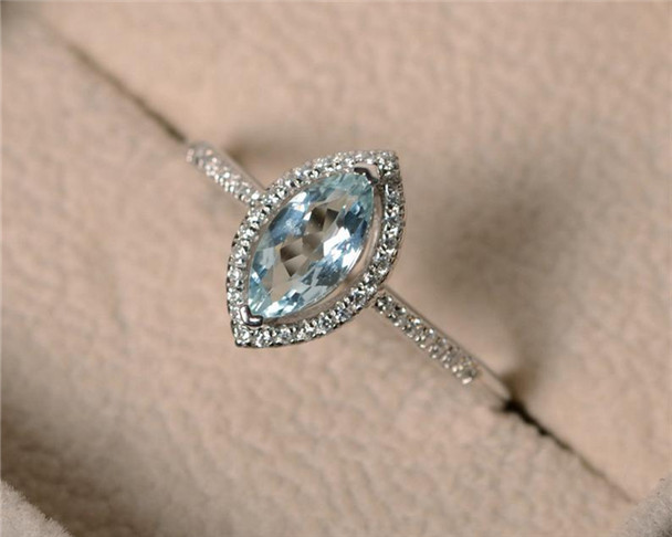 5*10MM Marquise Cut Aquamarine Ring,March Birthstone Ring,Silver Ring,Promise Ring,Engagement Ring