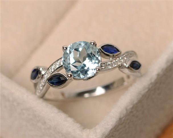 7mm Round Cut Aquamarine Ring,Leaf Ring,Sterling Silver Ring,Aquamarine Engagement Ring,Birthstone Ring