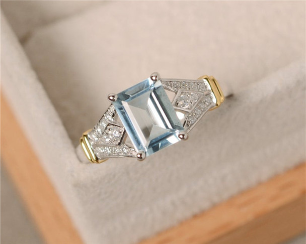 Aquamarine Ring,Yellow Gold,Sterling Silver,6*8mm Emerald Cut Gemstone Ring,Claw Ring,Birthstone Ring