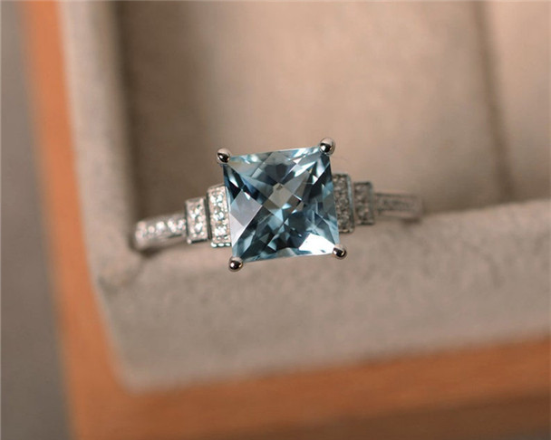 Aquamarine Ring,7mm Princess Cut Aquamarine Engagement Ring,March Birthstone Ring,Sterling Silver Ring