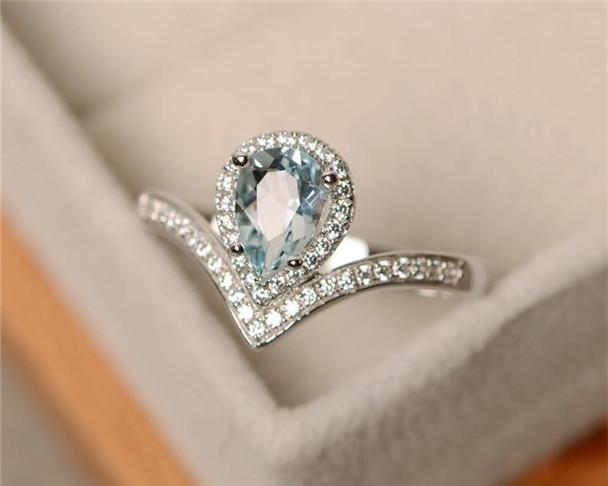 Aquamarine Ring,5*7mm Pear Cut Aquamarine Engagement Ring,Sterling Silver Ring,March Birthstone Ring