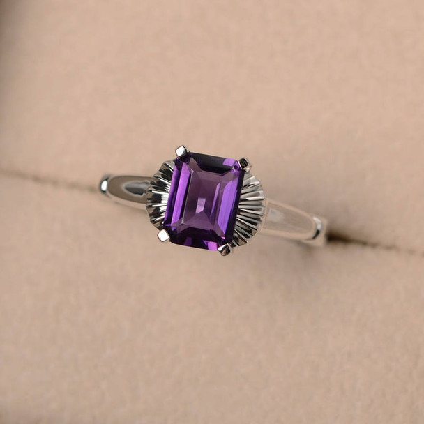 Solitaire Ring,Wedding Ring,Purple Gemstone Ring,Silver Ring,6*8mm Emerald Cut,February Birthstone Ring