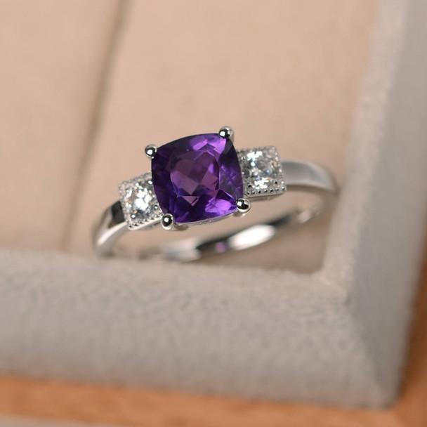 7mm Cushion Cut Amethyst Ring Silver Ring February Birthstone Ring Purple Gemstone Ring