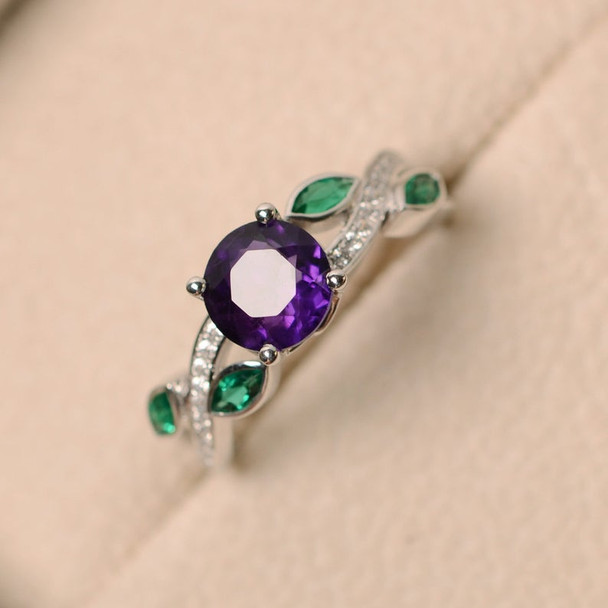 Amethyst Engagement Ring February Birthstone Ring 7mm Round Cut Amethyst Ring Pave Emerald Ring Silver Ring