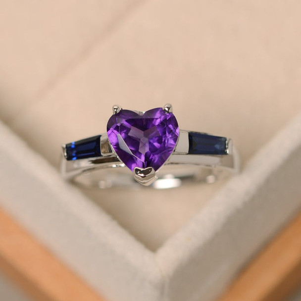 8mm Heart Cut Ring Purple Amethyst Ring,Birthstone Engagement Ring Wedding Ring Silver Ring
