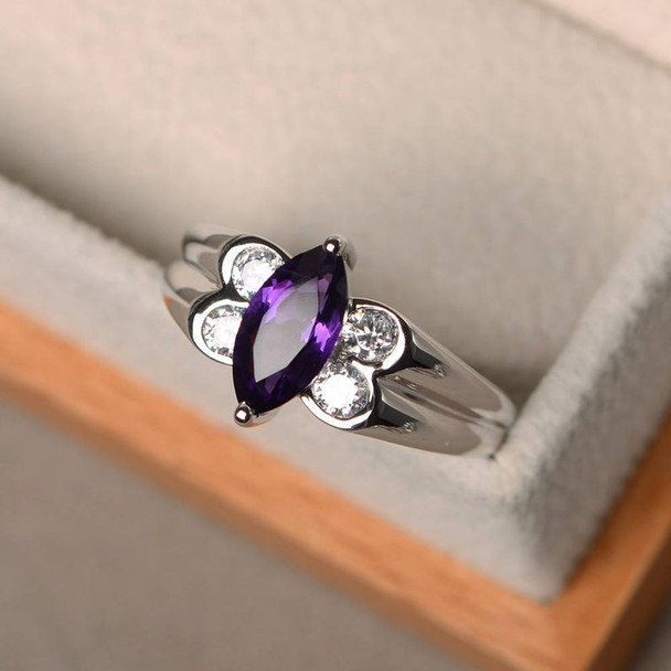 Unique Wedding Rings Amethyst Rings 5*10mm Mmarquise Cut Amethyst Rings Purple Gemstone Silver Rings February Birthstone Ring