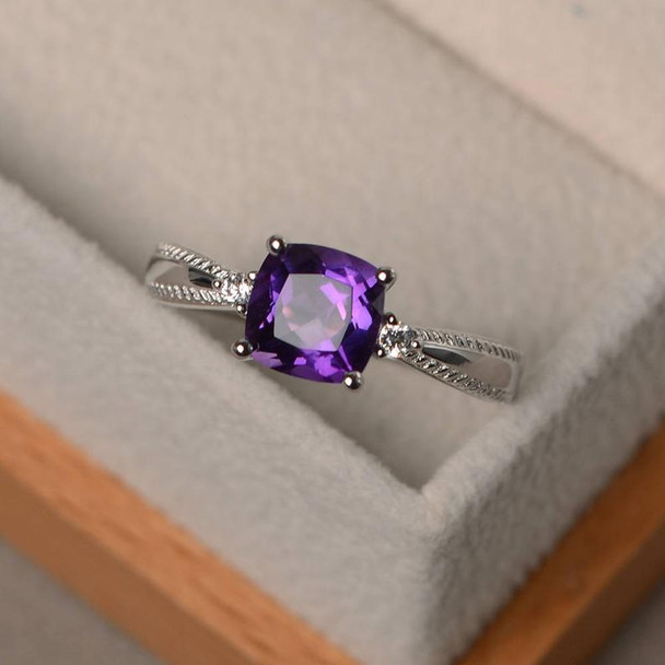 7mm Cushion Cut Amethyst Ring Sterling Silver Ring Gold Plated Engagement Ring February Birthstone Ring