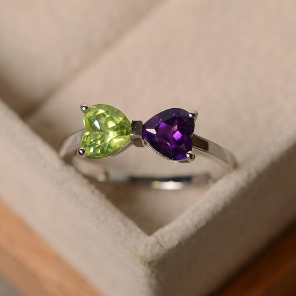 Amethyst Ring Heart Cut Periodt Ring Birthstone Ring Silver Ring Promise Ring Gift Ring For Woman