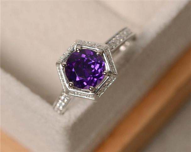 7mm Round Amethyst Ring Sterling Silver Ring Half Eternity CZ Wedding Ring Set Birthstone Engagement Ring Set