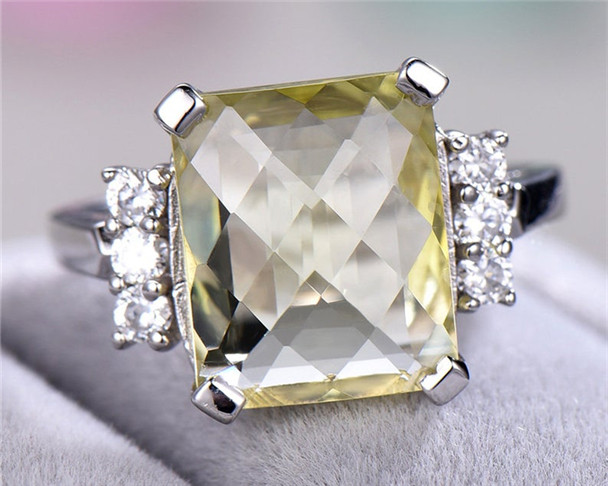 Lemon Quartz Engagement Ring Sterling Silver White Gold Plated Ring Cluster CZ Diamond Accent Big Birthstone Silver Ring