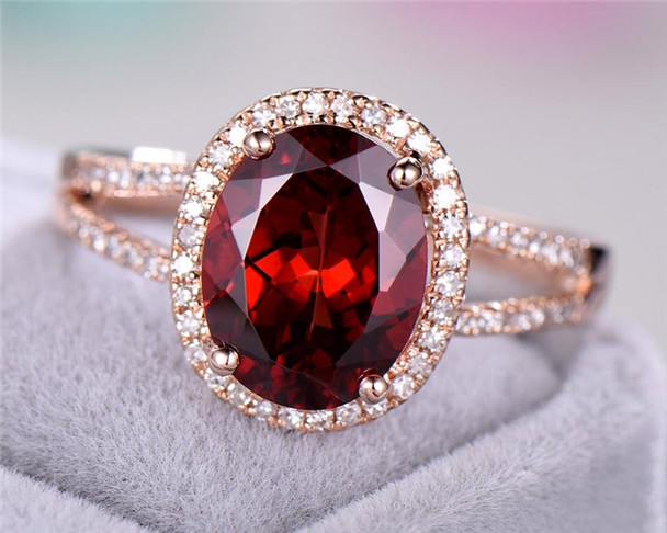 Garnet Engagement Ring 925 Sterling Silver Ring Rose Gold Plated Ring 8*10mm Oval Cut Garnet Ring CZ Halo Ring Birthstone Ring