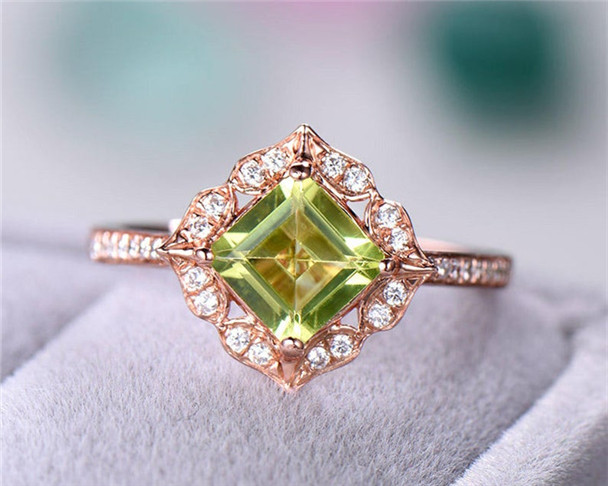 6mm Princess Cut Green Peridot Engagement Ring 925 Sterling Silver Ring CZ Diamond Wedding Ring Anniversary Gift Women
