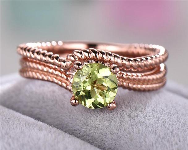 Peridot Engagement Ring Set 925 Sterling Silver Twisted Wedding Band Birthstone Bridal Set Anniversary Gift