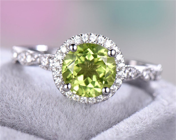 Round Cut Peridot Ring Halo Engagement Ring CZ Ring 925 Sterling Silver Ring Minimalist Wedding Ring
