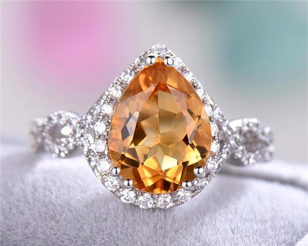 Citrine Engagement Ring Pear Shaped Cut Split Shank Wedding Band Promise Ring 925 Sterling Silver White Gold CZ Diamond Halo Ring