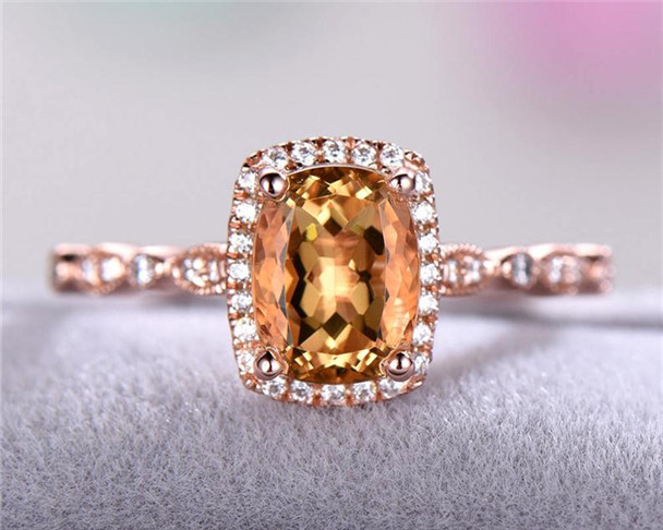 Citrine Engagement Ring Rose Gold 925 Sterling Silver CZ Cubic Zirconia Diamond Halo Art Deco Anniversary Gift Bridal Ring