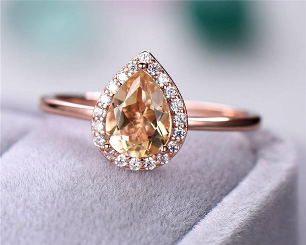 Citrine Engagement Ring Halo Ring Plain Gold Sterling Silver Ring 6*8mm Pear Cut Citrine Ring Birthstone Ring