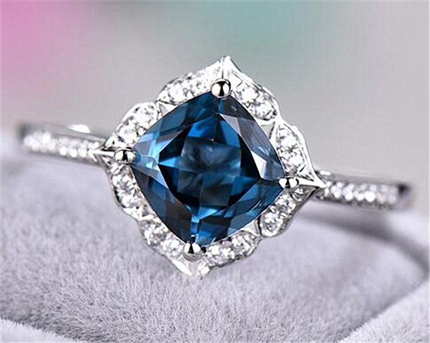 London Blue Topaz Halo Engagement Ring Sterling Silver Gold Plated Ring Art Deco Flower Floral Antique Ring