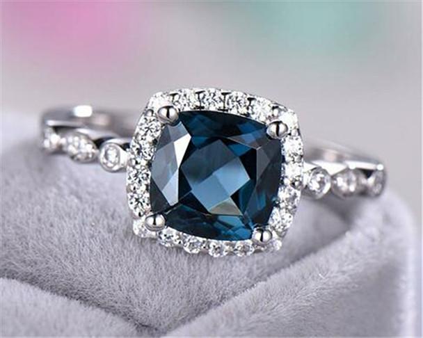 London Blue Topaz Engagement Ring 925 Sterling Silver White Gold CZ Diamond Halo Art Deco Band Women Promise Ring