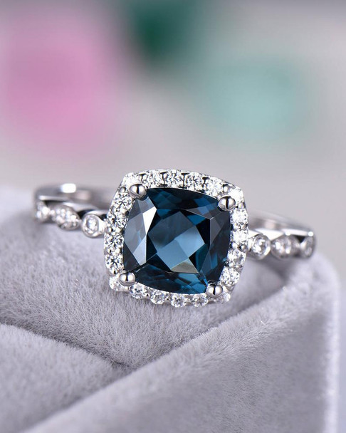London Blue Topaz Engagement Ring 925 Sterling Silver White Gold CZ Diamond Halo Art Deco Band Women Promise Ring