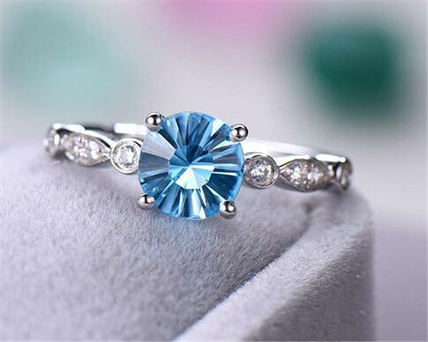 Blue Topaz Engagement Ring Art Deco Round Cut Sterling Silver Ring Birthstone Ring Gold Plated Ring