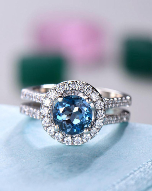London Blue Topaz Engagement Ring Split Shank Sterling Silver Ring Gold Plated Ring Halo Ring Vintage Ring