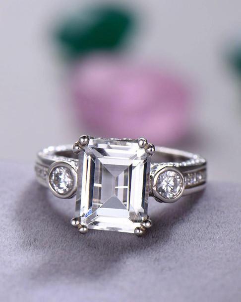 White Topaz Engagement Ring Sterling Silver Retro Vintage Ring 8*10mm Emerald Cut Gemstone Ring Birthstone Ring