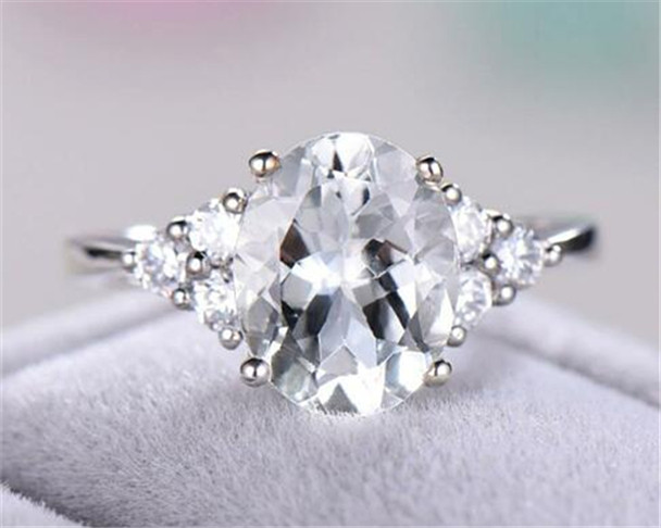 White Topaz Engagement Ring Oval Cut 925 Sterling Silver Ring 14k White Gold Plated Ring Promise Ring