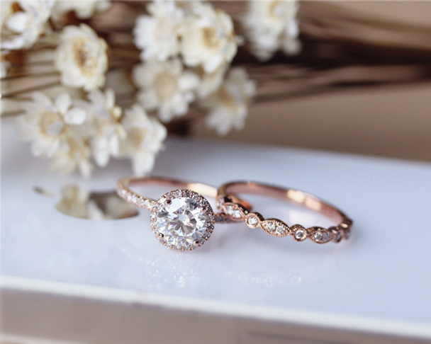 1ct Brilliant Moissanite Engagement Ring Set Solid 14K Rose Gold Wedding Ring Set Proposal Ring