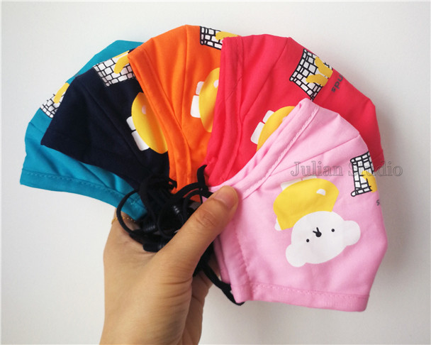 Handmade Mask Little Bear 3 Layers Kids Face Mask 100% Cotton with pocket for filter/With 2pcs Filters/Washable/Reusable/Adjustable/Not a medical device