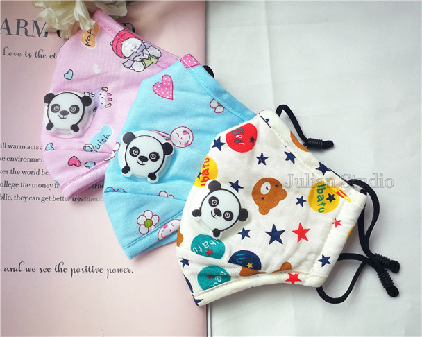 With Panda Breathing Valve/Handmade Mask 3 Layers Kids Face Mask 100% Cotton with pocket for filter/With 2pcs Filters/Washable/Reusable/Adjustable/Not a medical device