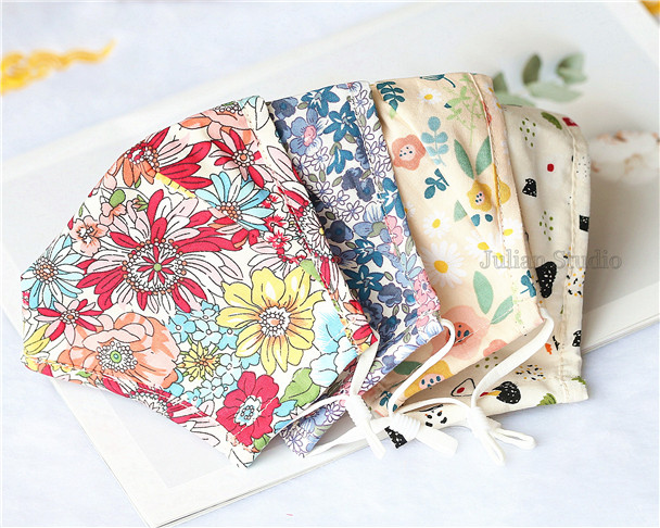 Flower Pattern Mask/Protective Mask/Handmade 100% Cotton Adult Face Mask  With Filter Pocket/With 2pcs Filters/Washable/Reusable/Adjustable/Not a medical device