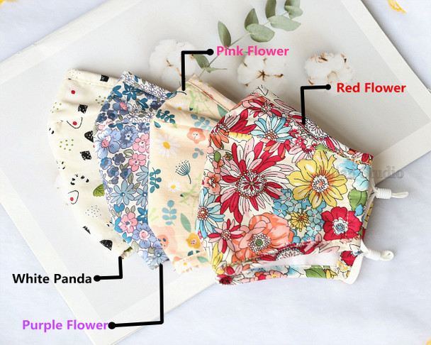 4PCS  Pack Flower Pattern Mask/Protective Mask/Handmade 100% Cotton Adult Face Mask  With Filter Pocket/With 4pcs Filters/Washable/Reusable/Adjustable/Not a medical device