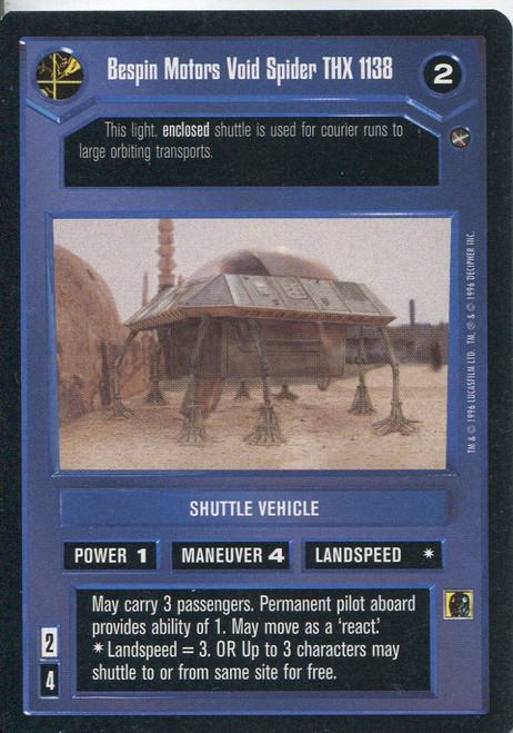 Star Wars CCG A New Hope Limited BB Bespin Motors Void Spider THX 1138