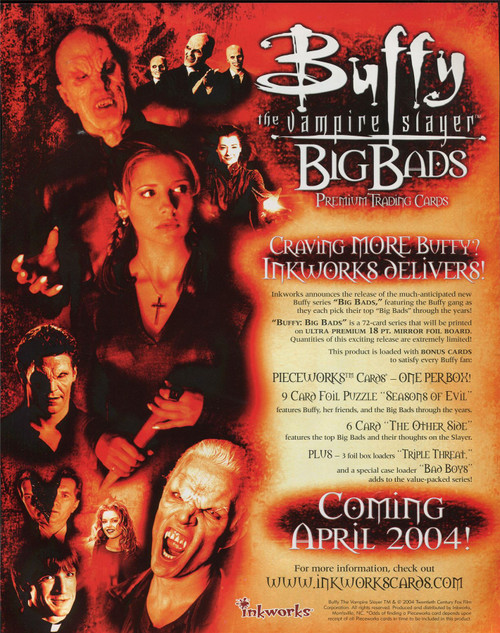 Buffy TVS Big Bads Official Inkworks Sellsheet Sell Sheet