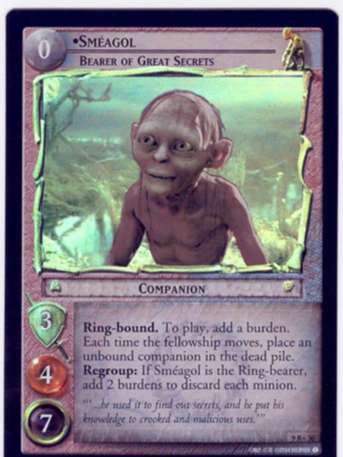 Lord Of The Rings CCG Reflections Foil Card  9R+30 Smeagol Bearer Of Great Secrets