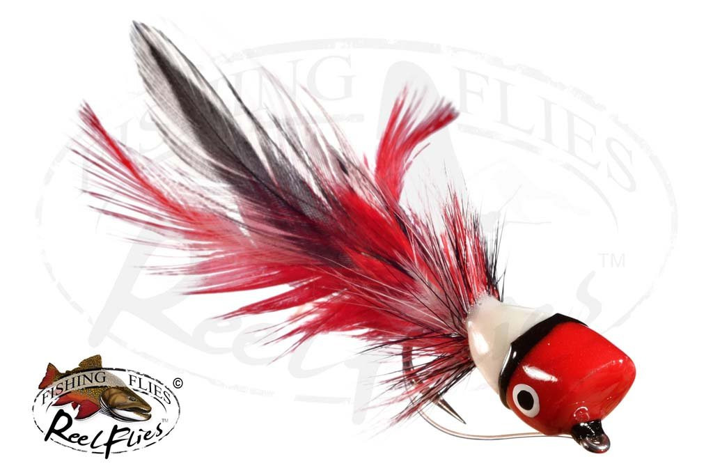 Bass Popper Fly Red White