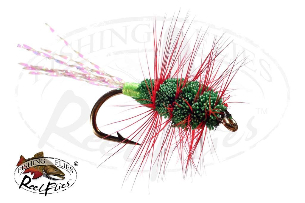 Glitter Bug Green Body, Red Hackle & Green Butt