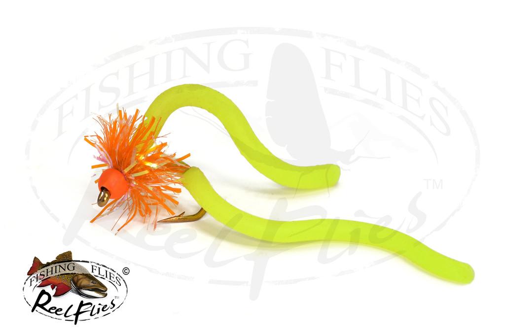 Squirmy Estaz Worm Orange and Chartreuse