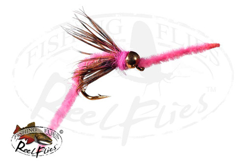 Psycho San Juan Worm Pink with Soft Hackle Collar