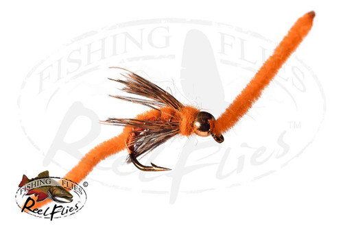 Psycho San Juan Worm Orange with Soft Hackle Collar