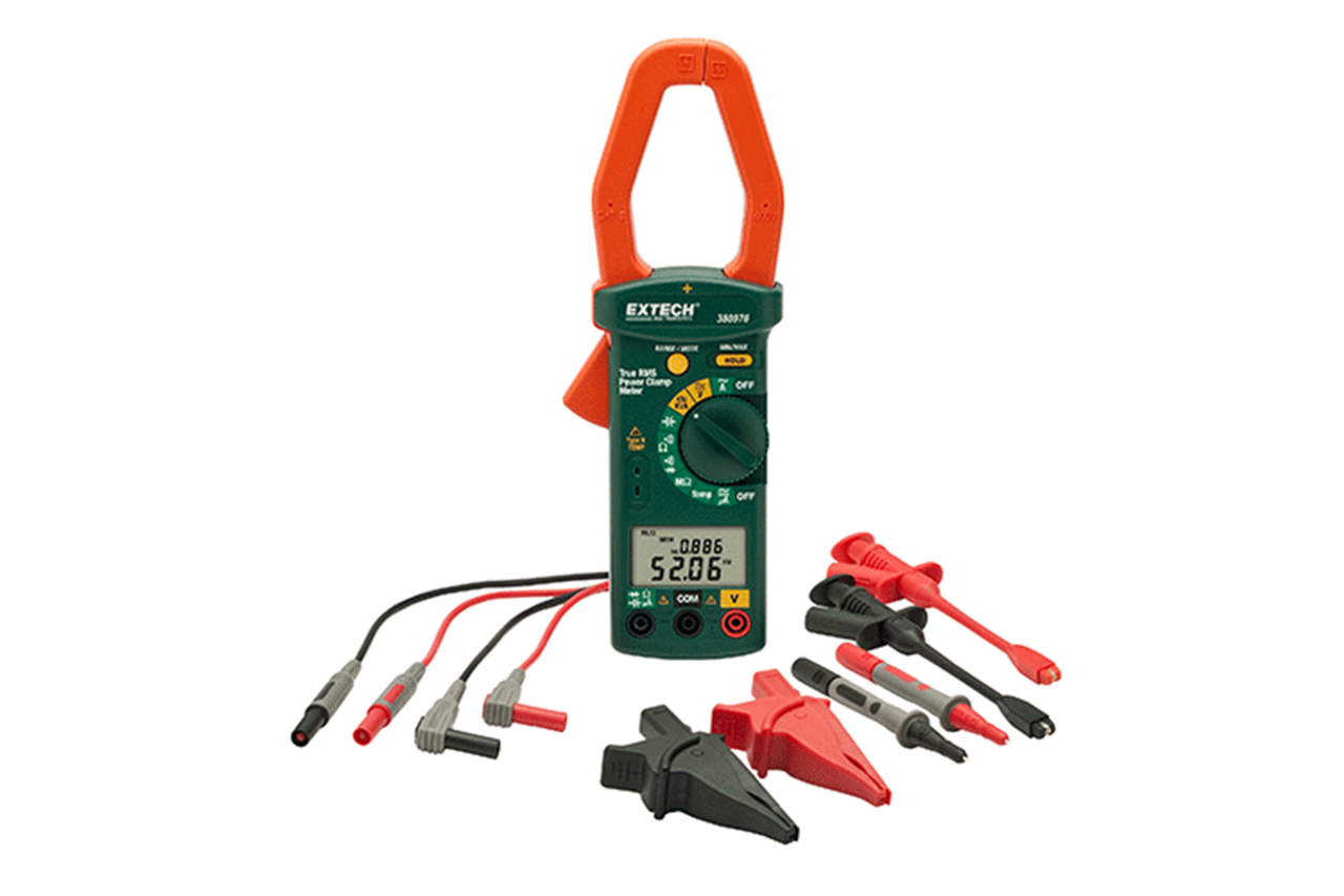 Extech Single Phase/Three Phase 1000A AC Power Clamp Meter Kit